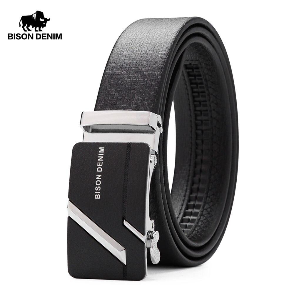 BISON DENIM Men's Genuine Leather   Belt   Jeans Strap Automatic Buckle Black   Belts   For Male Gift N71281&N71280