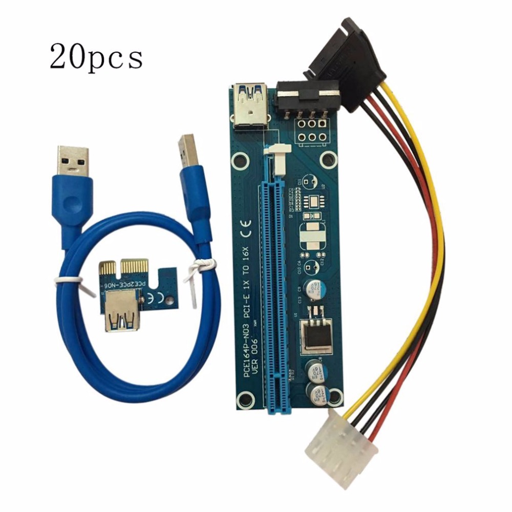 20pcs/set PCI-E PCI Express 1X to 16X Extender Riser Card USB 3.0 Cable SATA to 4Pin IDE Power Cord for BTC Miner Machine 20pcs stp80nf70 80nf70 to 220