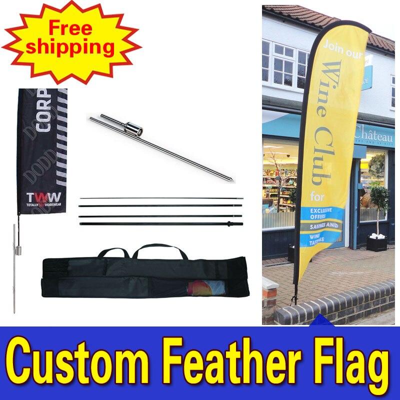 55 cm * 260 cm FRETE GRÁTIS Personalizado Único Sided Promocional Bandeiras de Penas com Espiga Inground Publicidade Ao Ar Livre