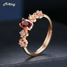 MoBuy Oval Garnet Natural Gemstone Adjustable Rings 925 Sterling Silver Rose Gold Plated Fine Jewelry For Women Gift MBRI045