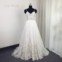 Spaghetti Strap Lace Wedding Dress High Quality Boho Bridal Gown Factory Real Photo Carrie