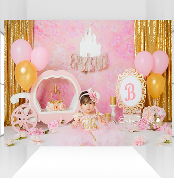 Watercolor Flowers Wall Backdrop White Castle Background For Photographers Baby Girl Princess Photo Backdrops CZ-101