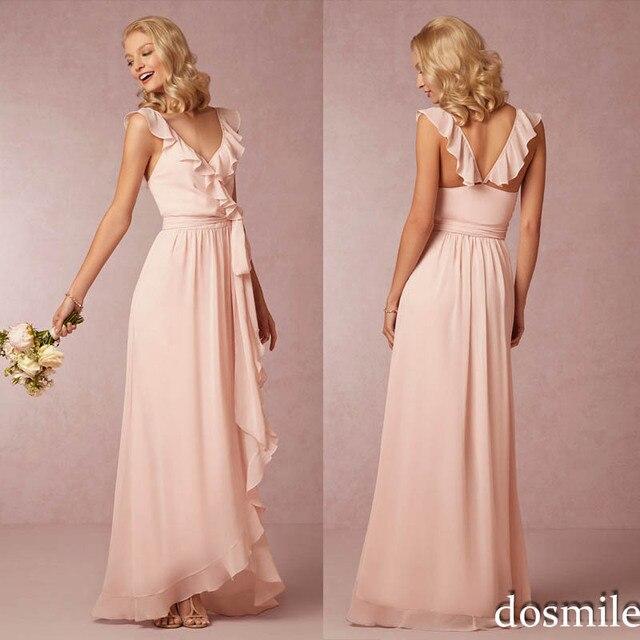 2016 V neck Blush pink Mint Green Bridesmaid Dresses A Line Ruffled Sash  Long Chiffon elegant 0d449acd3248