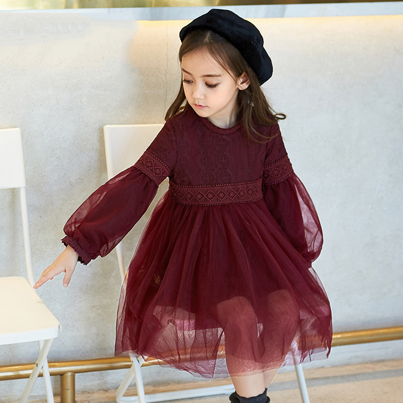 2017 Baby Girl Princess Dress Maroon Autumn Color Wine Red Clothes for Birthday Party Wear Evenings Age 5678910 11 12 Years Old 2017 girls winter dress new year clothes for kids birthday elegant dresses big bow collar for age 5678910 11 12 13 14 years old