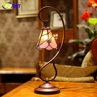 European Garden Stained Glass Table Lamp Bedside Tiffany Lamp Classic Style Living Room Bar Decor Light