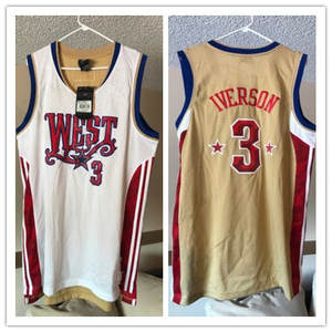 52197649f4b0 Allen Iverson  3 West All Star mens basketball jersey Rare Embroidery  Stitches Customize
