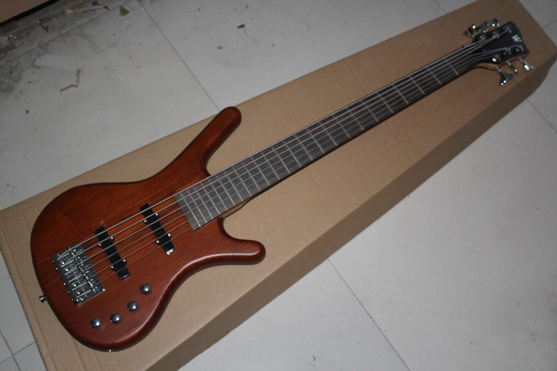Factory custom Top Quality W k natural wood brown 6 String electric Bass Guitar with 9V Battery active pickups  141110Factory custom Top Quality W k natural wood brown 6 String electric Bass Guitar with 9V Battery active pickups  141110