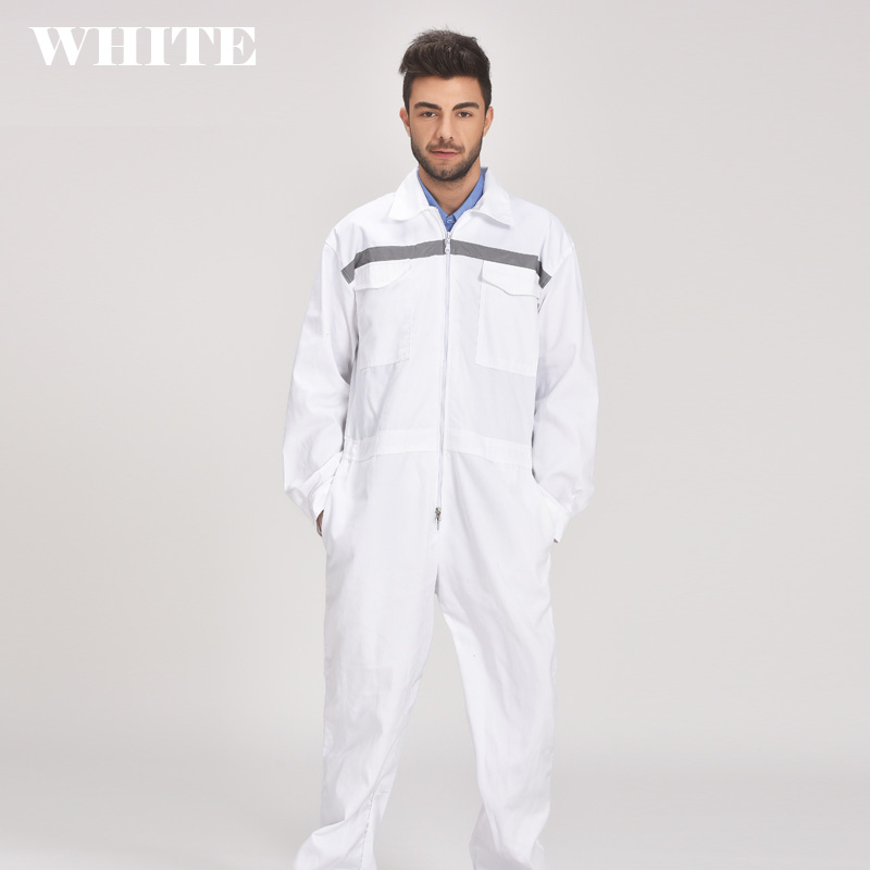 Mens White Orange Blue Reflective Workwear Work coverall strap jumps High Visibility Work Clothing Overalls Free