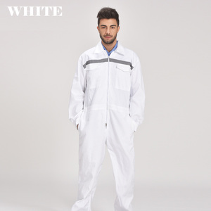 Image 1 - Mens White Orange Blue Reflective Workwear Work coverall strap jumps High Visibility Work Clothing Overalls Free Post