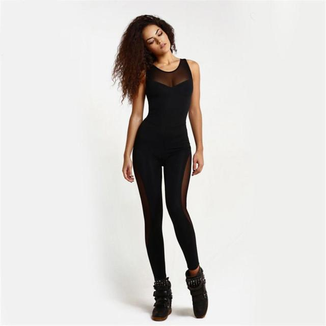 5a03c04b60 Women Sexy Mesh Jumpsuit Solid Round Neck Sleeveless Backless Tank Overalls  Leotards Playsuit Black Pants Black Mesh