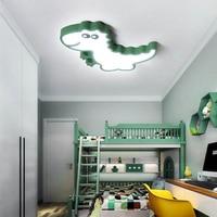 Children room decoration LED dimmable ceiling lamp modern iron acrylic green dinosaur design cartoon kids bedroom lighting