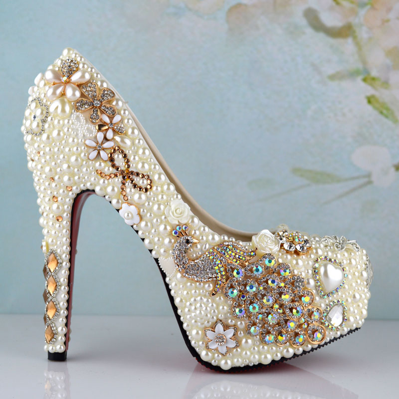 low price luxury peacock platform high heel wedding shoes genuine leather woman pumps party prom - THE GRACE LADY store