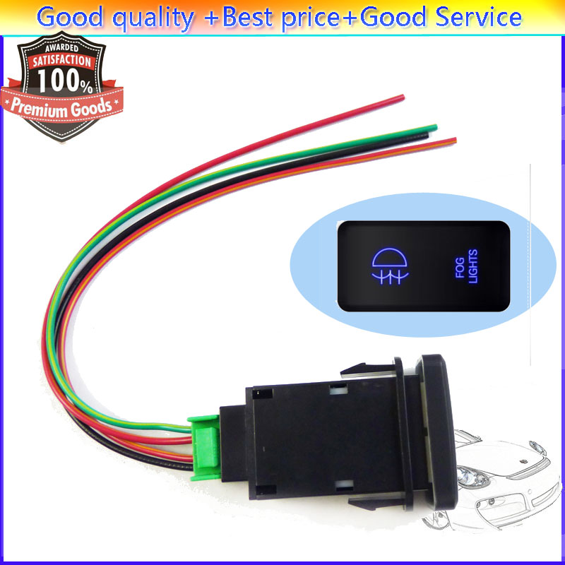 Isance Fog Light Push Switch Button Blue Led With Wires