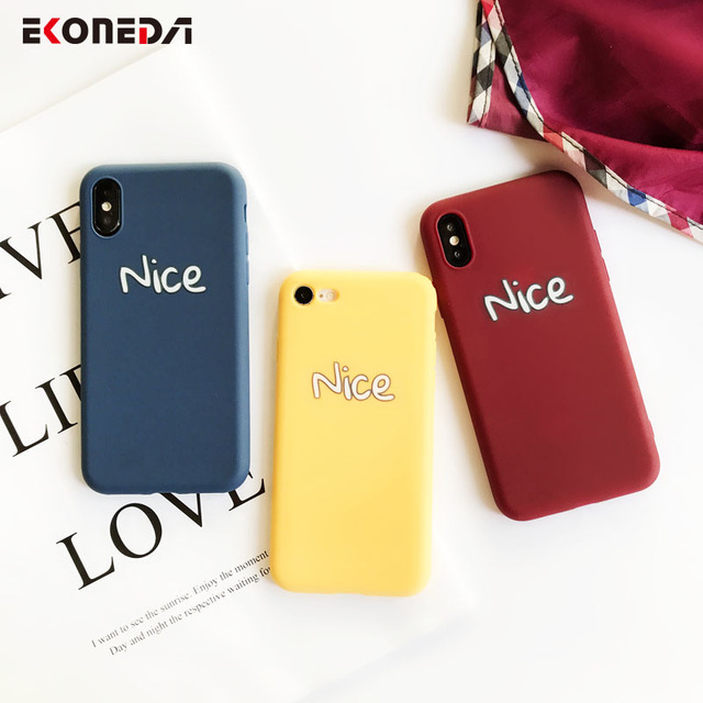 wholesale dealer 9a492 5f428 US $1.88 30% OFF|EKONEDA Words Simple Case For iPhone 8 Plus Case Candy  Colors Nice Cover For iPhone 7 Plus 6S 6 X XS Max XR Silicone Case-in  Fitted ...