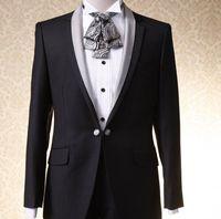 2017 Chaqueta Formal Trajes Últimos Diseños Bragas de la Capa del Mantón de la Solapa los hombres Traje de Boda de Ajuste Delgado chaqueta de Los Hombres Negros Del Novio Esmoquin + pant
