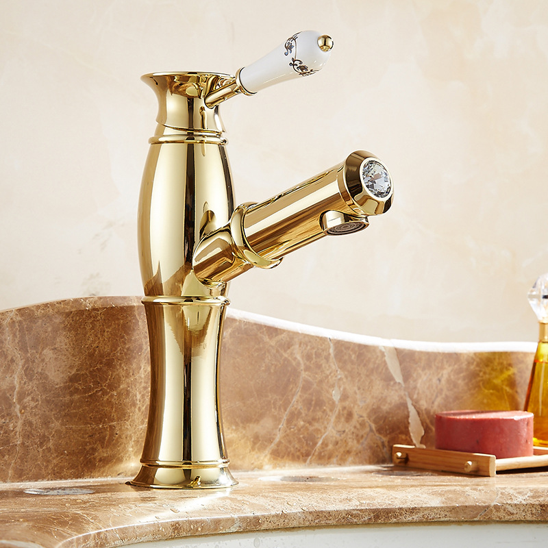 Vidric Gold Plating Brass Put Out Basin Faucet Shampoo Faucet Hot And Cold Mixer Taps Blue&white Porcelain Handle With Diamonds Home Improvement