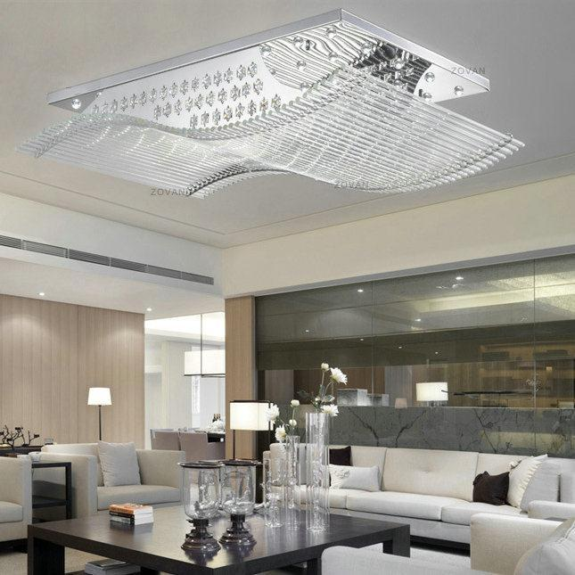 Rectangle Led Crystal Flush Mount Ceiling Light Fixture