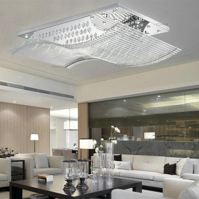 Led Wohnzimmer Lampe Rectangle Led Crystal Flush Mount Ceiling Light Fixture
