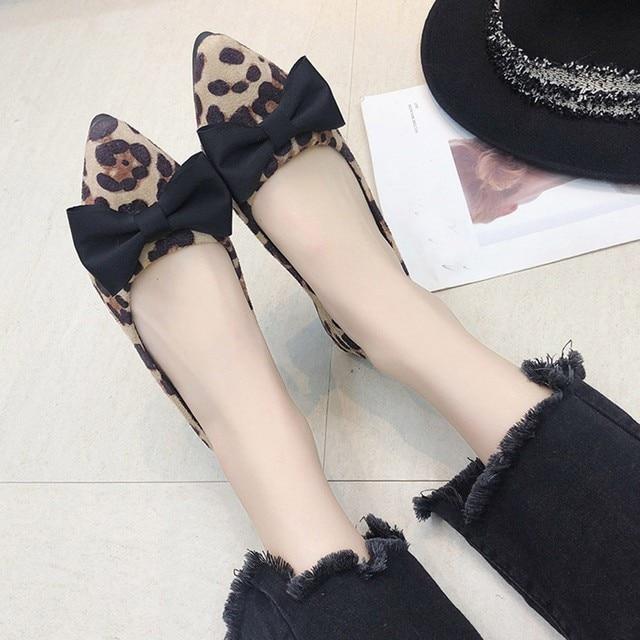 YOUYEDIANApartamentos das mulheres Sapatos Loepard Rebanho Moda Bowknot das Mulheres Rasas Sapatos Único Dedo Apontado Plana