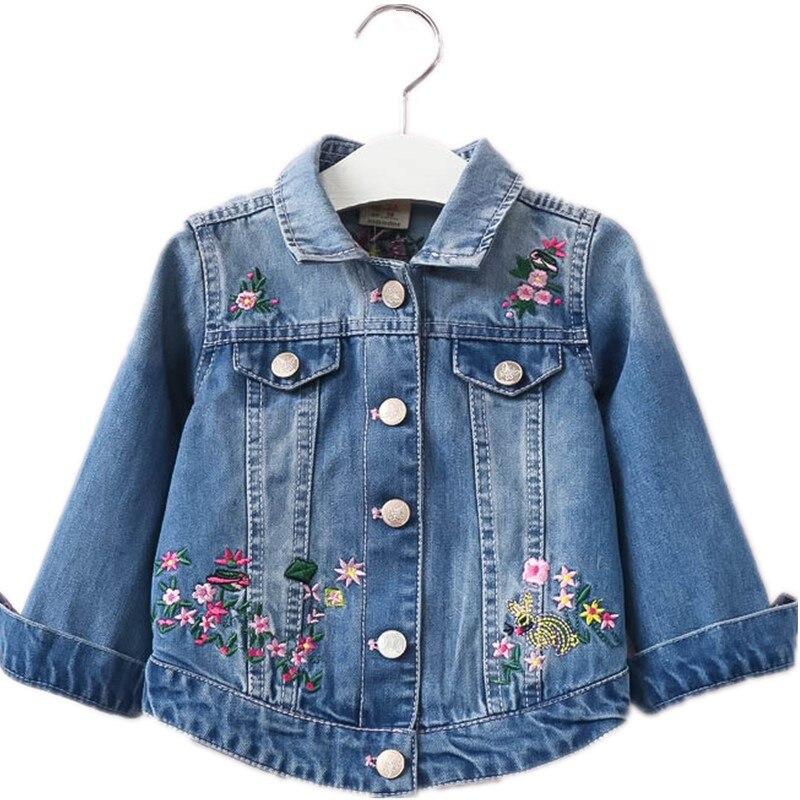 Autumn Girls Denim Jackets Coats Embroidered Flowers Lapel Cowboy Coat Denim Jacket For Baby Girl Clothes Fashion Floral Outwaer