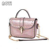 AOYI 2017 Spring New Classic Handbags Old Flower Lock Rivets Chain Small Square Fashion Shoulder Bag Package