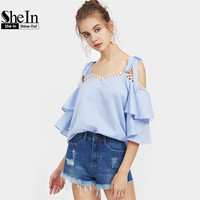 SheIn Self Tie Shoulder Lace Trim Layered Flare Sleeve Top Blue Three Quarter Length Sleeve Cold