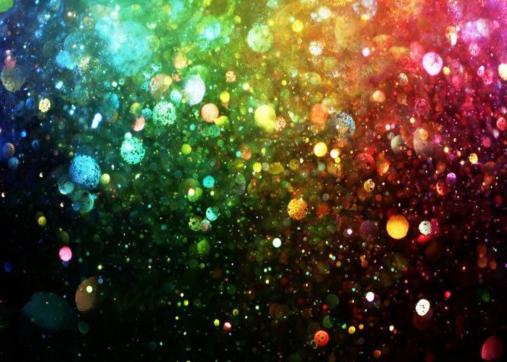 Rainbow Glitter Lights Bokeh Black Starry Sky Backdrops