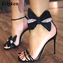Eilyken 2019 New Fashion Butterfly-Knot Thin Heel Gladiator Buckle Strap Cover H