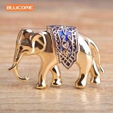 Blucome Enamel Elephant Brooches Pins Jewelry Gold-color Women Garment Scarf Accessory Rhinestone Crystal Animal Brooch Joyeria