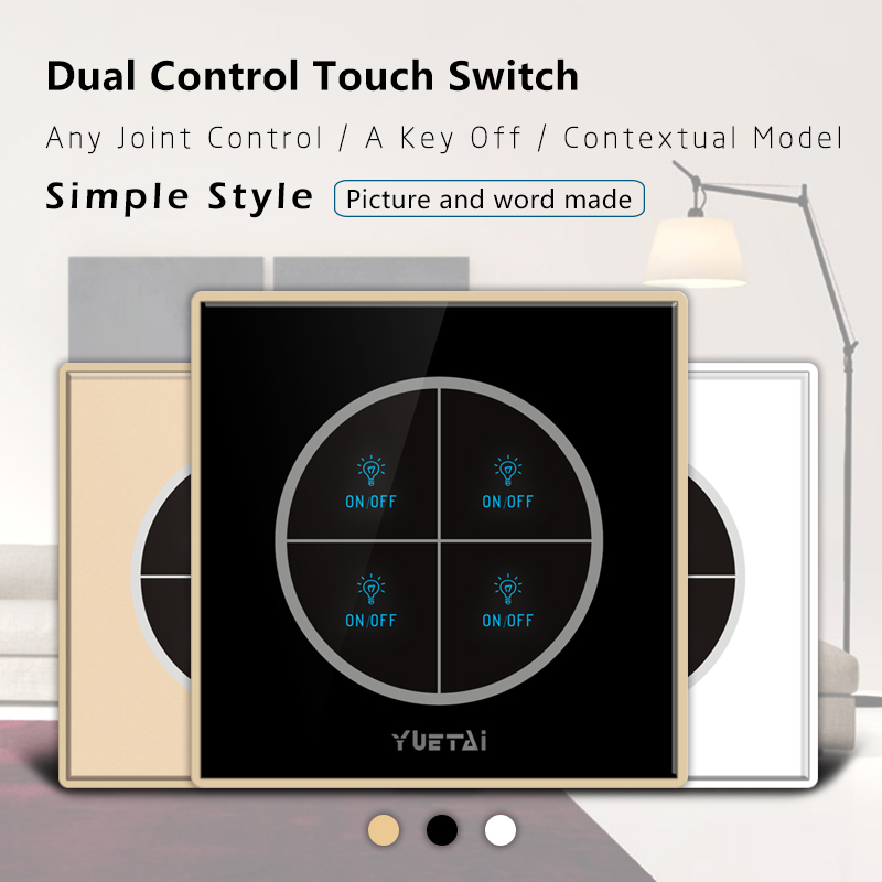Touch Switch home/office Smart Wall Switches Wireless RF 433Mhz 4 Gang Remote Controller 2017 smart home crystal glass panel wall switch wireless remote light switch us 1 gang wall light touch switch with controller
