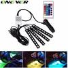 Car RGB LED Strip Light 4pcs LED Strip Lights 16 Colors Car Styling Decorative Atmosphere Lamps