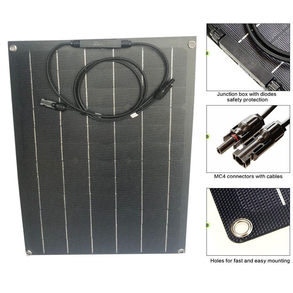 1PCS Black ETFE flexible solar panel solar cell 40w solar panels 18V ETFE Coating panel charger