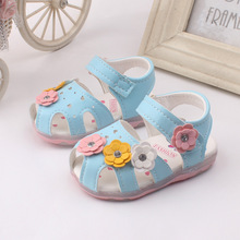 2017 Summer Toddler New Flowers Girls Sandals Lighted Soft-Soled Princess Baby Shoes
