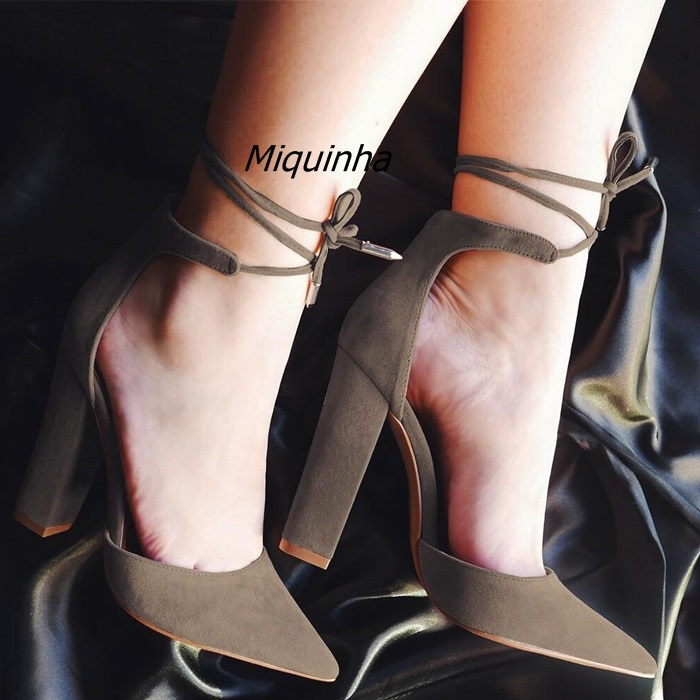 Stylish Cut-out Block Heel Lace Up Heels Women Pretty Black Suede Pointy Chunky Heel Pumps Concise Style Plain Dress Shoes Hot stylish spaghetti straps black cut out women s bikini set