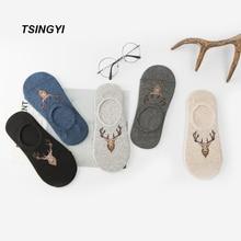 TSINGYI Deer no show Antibacterial Socks Cotton Non slip Mens Novelty Socks Fuuny Breathable Invisible Nonslop