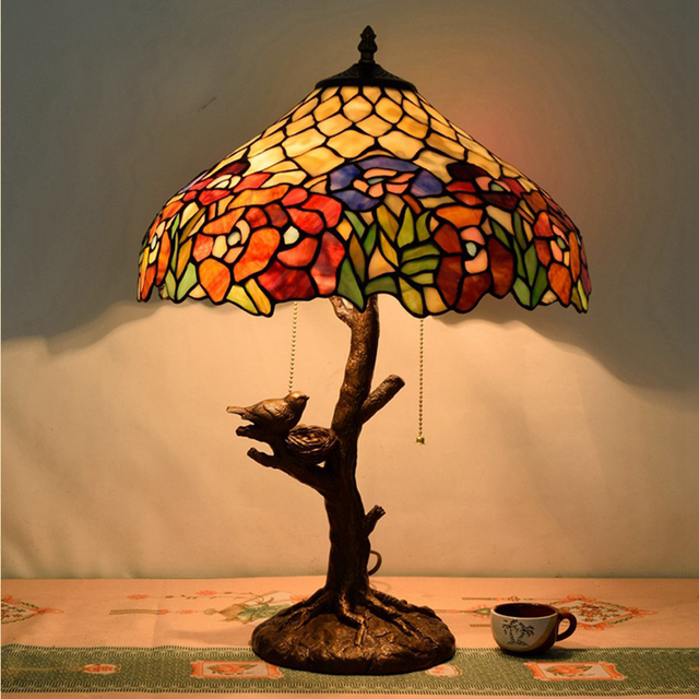 Hot Sale American Pastoral Creative Tiffany Colored Glass Table - Bedroom table lamps sale