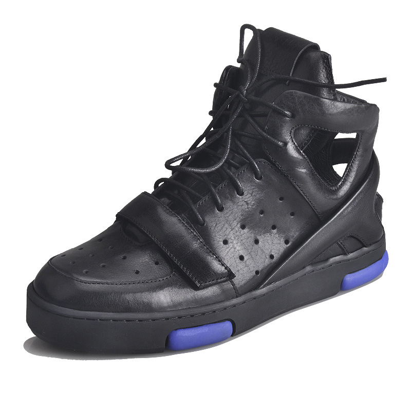 Roman Men's <font><b>Skateboarding</b></font> <font><b>Shoes</b></font> Genuine Leather Breathable Cutout High Top lace-up Summer Male Outdoor Walking <font><b>Shoes</b></font> Footwear image