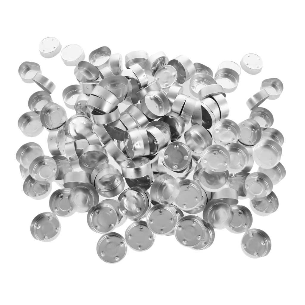 Baoblaze 200 Pieces Empty Aluminum Tealight Cup Diy Candles Container Case 38x12mm Silver