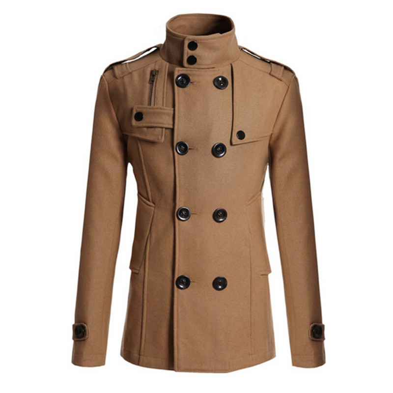 Fashion Double Breasted   Trench   Coat Men Winter Plus Size Male Overcoat 3XL Turn Down Collar Warm Cotton Coat Manteau Homme 2018