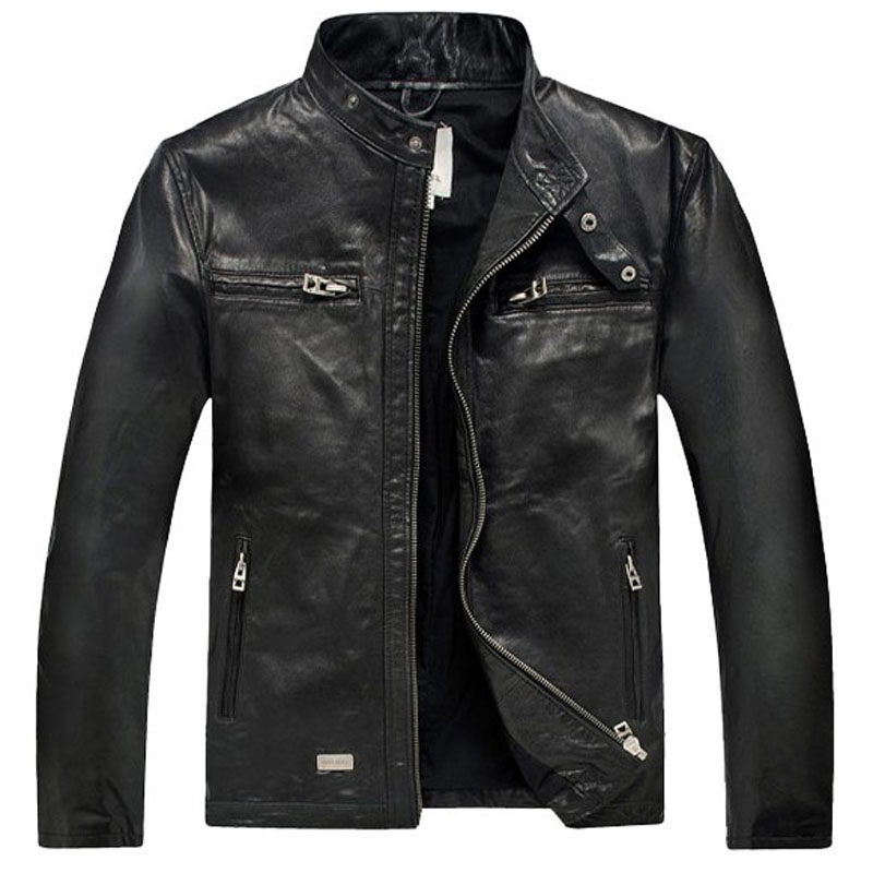 Dermis Leather Jacke Men Genuine Sheepskin/Suede Leather Jacket Fashion Brand Design Casual Slim Biker Motorcycle Coat Jaqueta 1