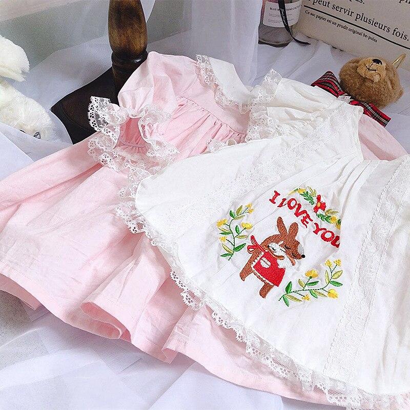 2019 Gros Bébé Fille Automne Ours Rose Bavoir À Manches Longues Lolita Robe de Princesse pour Filles décontracté Robe De Soirée G059