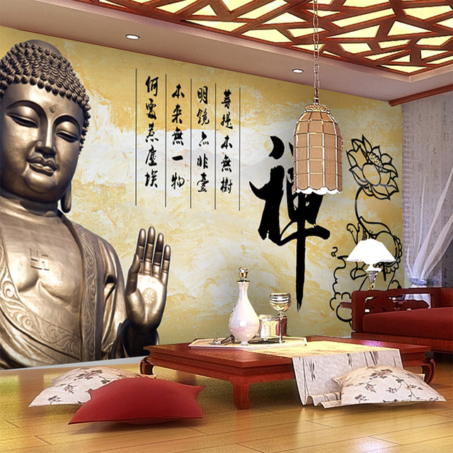 Buddha Schlafzimmer vintage wandbild 3d buddha fototapete große tapete kunst room decor