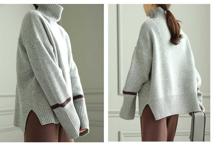 Otoño e Invierno suéter de cachemira de cuello alto conjuntos femeninos de suéter corto grueso suelto perezoso de lana de viento