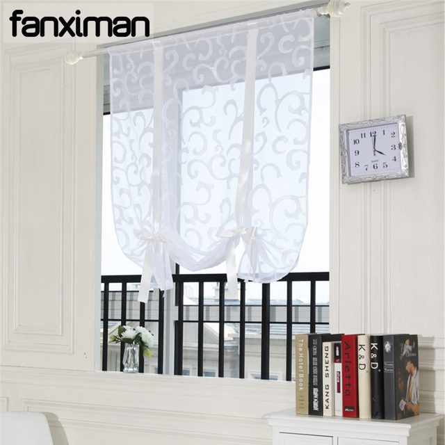 Luxury Living Room Sheer Voile Window Curtain Ribbon Liftable Roman Curtains Blinds Kitchen D Bedroom Study 1 Pc