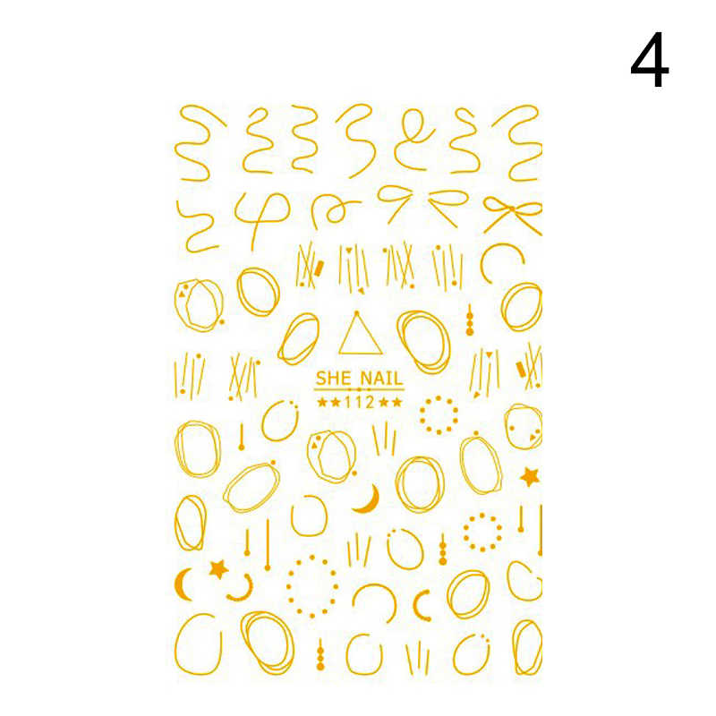 Oro Nail Sticker Francese Fiori Linee Geometriche Disegni Misti di Auto-adesivo di Trasferimento Decalcomanie Cursore 3D Unghie artistiche Decorazioni