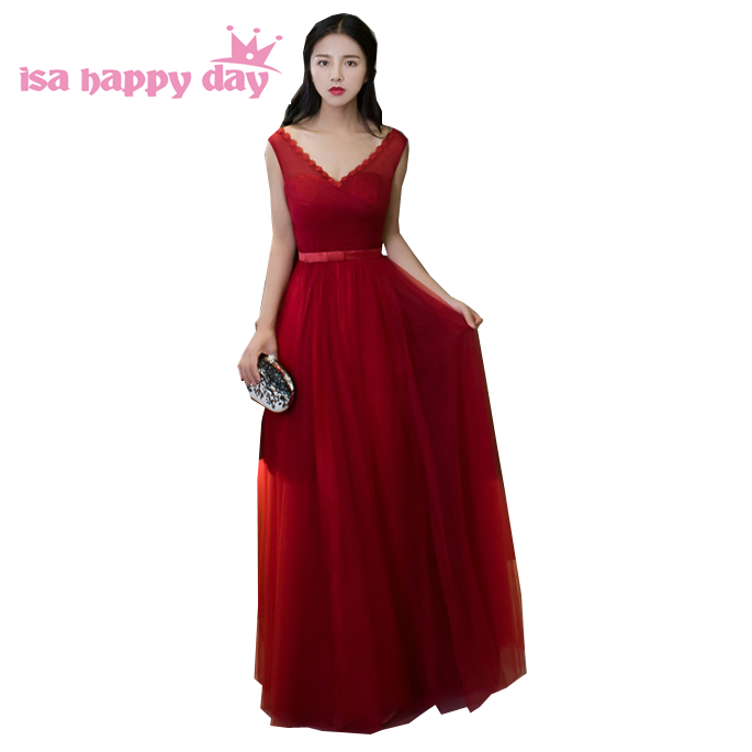 Teenage V Neck Nice Dark Red Bridemaids Pretty Bridesmaid Occasional Long Elegant Gowns Dresses For Sweet 16 Teens H3738
