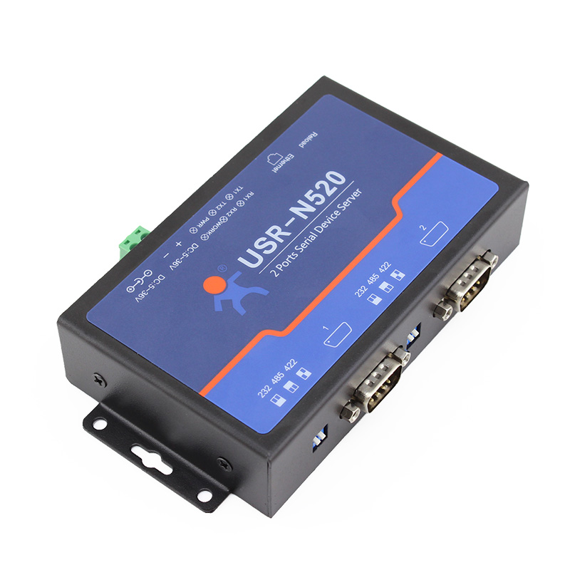 USRIOT USR N520 Serial to Ethernet Server TCP IP Converter Double Serial Device RS232 RS485 RS422
