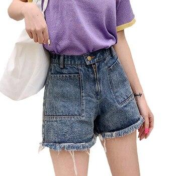 High Waist Denim Shorts Female Summer 2019 New Fashion Loose Casual Denim Shorts Women Retro A Word Wide Leg Shorts JIA264 фото