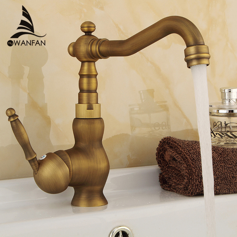 Basin Faucets Antique Brass Bathroom Sink Faucet Swivel Spout Single Handle Bath kitchen Deck Hot Cold Mixer Tap WC Taps HJ6717F antique copper swivel spout kitchen sink faucet single hole deck mounted dual handles bathroom basin mixer taps wnn013