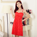 summer new design women's red color nightwear free shipping 2016 lace sleeveless spaghetti straps nightdress hot sale nightgown